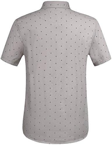 SSLR Herren Freizeit Straight Fit Printing Casual Kurzarm Hemd Grau