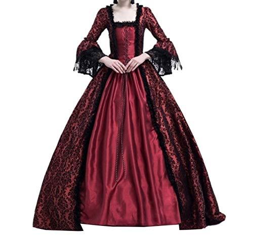 Damen Kleider Luxuriös Rüschen Schnüren Aufflackern Hülsen Karneval Kostüm Frauen Gothic Palast Königin Vampir Cosplay Kostüme 3XL ()