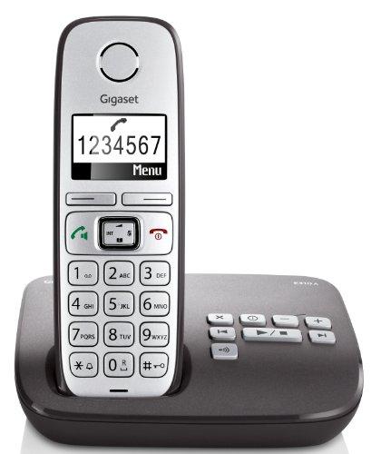 Gigaset E310A Telefon - Schnurlostelefon / Mobilteil - Grafik Display - Grosse Tasten Telefon - Anrufbeantworter -  Freisprechfunktion - Analog Telefon - schwarz Großes Display