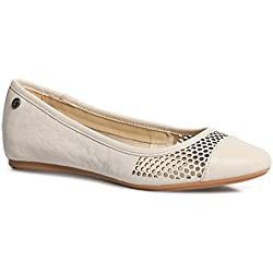 Hush Puppies Women's Liza Heather White Leather Ballet Flats