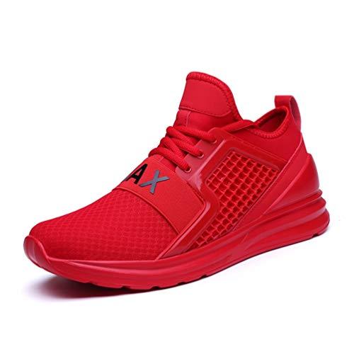FLARUT Herren Laufschuhe Leichte Gym Sneaker Sportschuhe Turnschuhe Freizeitschuhe Atmungsaktiv Schuhe für Männer(Rot,47)