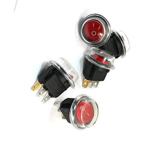 Aexit 5 piezas luz roja SPST 3 Pin Montaje en panel Snap...