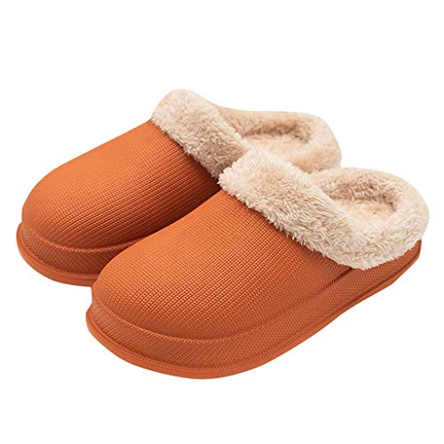Skxinn Unisex Winter Clogs Warm Gefüttert Hausschuhe für Indoor Outdoor,Plüsch Pantoletten rutschfeste Wasserdicht Gartenschuh Schlappen Winterschuhe