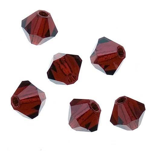 Bicone Siam (Preciosa Tschechische Kristall Bicone Glasperlen, 4mm,