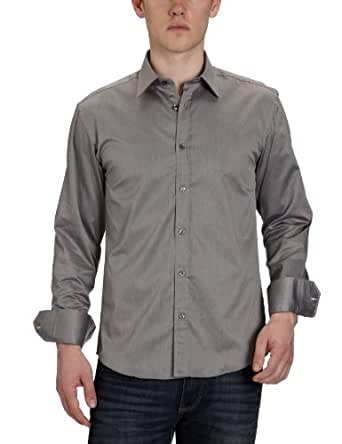 SELECTED HOMME, Herren Businesshemd, Slim Fit, 16016584 One Pelle Santiago, Grau (GREY), Gr. 38 (Herstellergröße:Small)