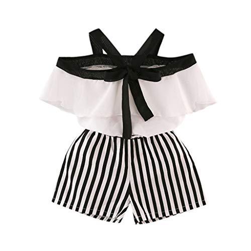 idung Set Baby Sommer Wort Kragen Lotusblatt hängen Hals Chiffon Hemd + gestreiften Shorts zweiteilig 2-7 Jahre alt ()