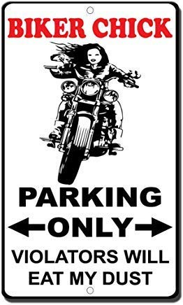 WallAdorn Biker Chick Parking Only Violators Will Eat My Dust Style Novelty Eisen Poster Malerei Blechschild Vintage Wall Decor für Cafe Bar Pub Home -