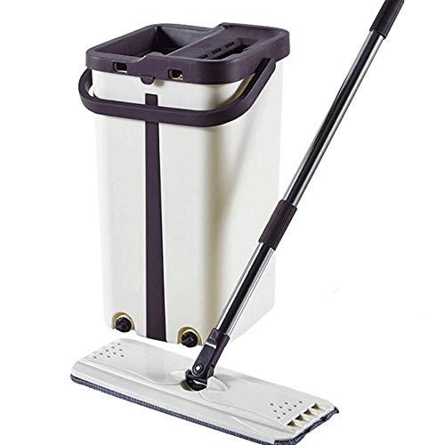 Household products prodotti per la casa, set di mocio piatto, con 2 testine di ricambio, secchio 2 in 1, per mocio in microfibra bagnato e asciutto, spazzola per pulizia