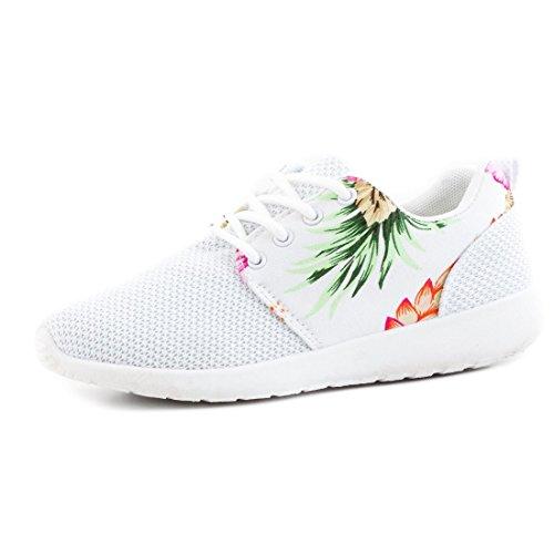 Unisex Damen Laufschuhe Schnür Sneaker Sport Fitness Turnschuhe mit Blumenmuster Weiß 38