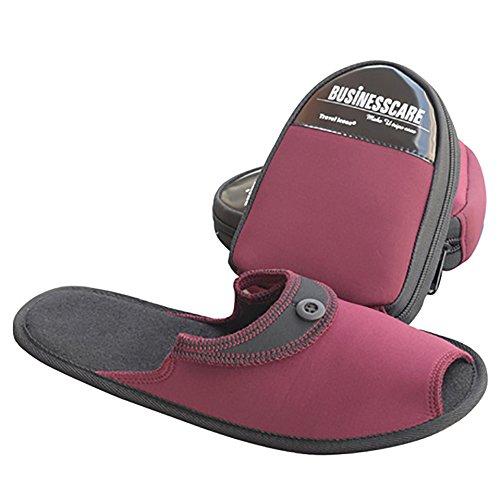 Travelmall pantofole unisex portatile pieghevole da viaggio antiscivolo pantofole pieghevole spiaggia scarpe con custodia da trasporto, Tessuto, Red, medium Red
