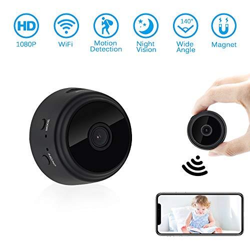 Mini WiFi Kamera, UYIKOO 1080P Mini KameraTragbare Kleine Kamera 140 Grad Überwachungskamera Nanny Cam mit Nachtsicht und Bewegungserkennung für iPhone/Android/iPad /(Unterstützung 128G SD-Karte) Wifi Spy