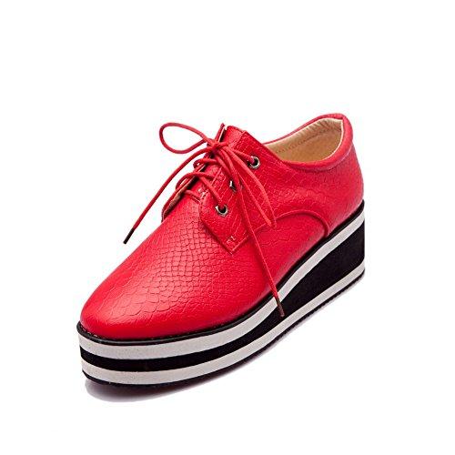 VogueZone009 Damen Weiches Material Rund Zehe Niedriger Absatz Schnüren Rein Pumps Schuhe Rot