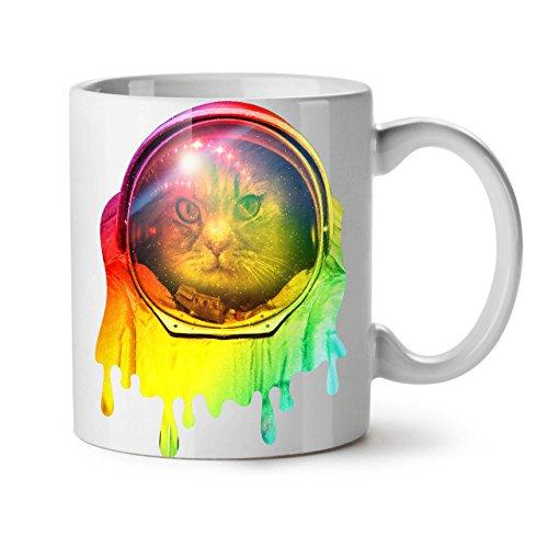 Wellcoda Astronaut Raum Farbe Katze Keramiktasse, Platz - 11 oz Tasse - Großer, Easy-Grip-Griff, Zwei-seitiger Druck, Ideal für Kaffee- und Teetrinker