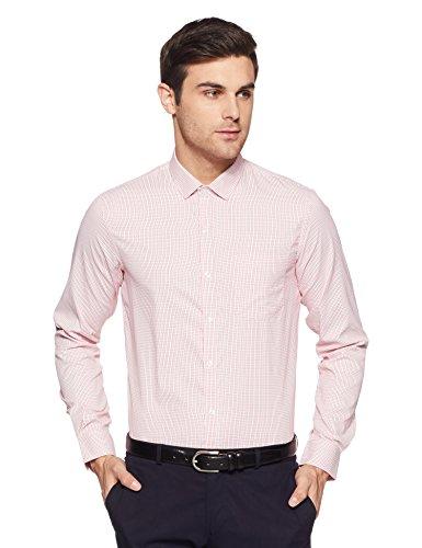 Excalibur EX Men's Solid Regular Fit Formal Shirt (276225147 RED 40)