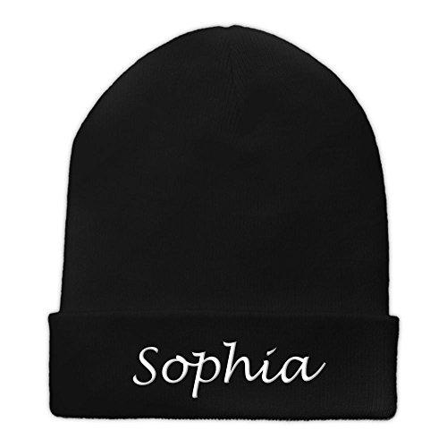 Beanie-Mütze mit Namen Sophia bestickt - Farbe Schwarz - personalisierte Mütze,...