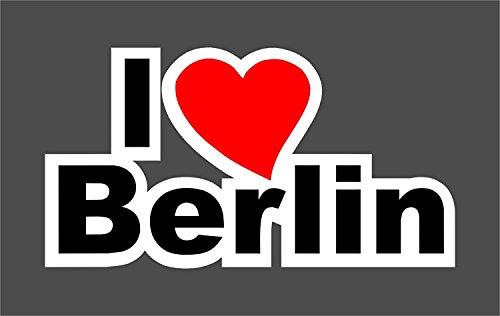 1 Sticker I love Berlin I kfz_188 I 16,5 x 9 cm groß I wetterfest I Auto-Aufkleber Roller Motorrad Laptop Geschenk-Idee Heimat-Liebe