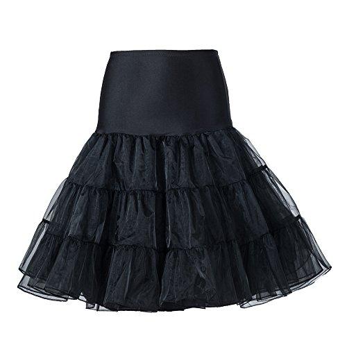 Boolavard® Enagua negra retro, enagua vintage de los 50, de 26 pulgadas, falda tutú chic Rockabilly, negro, XS-M (38-46)