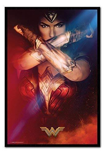 Wonder Woman verschränkten Armen Poster Magnettafel, schwarzer Rahmen, 96,5x 66cm (ca. 96,5x 66cm) (Wonder Woman Blatt)