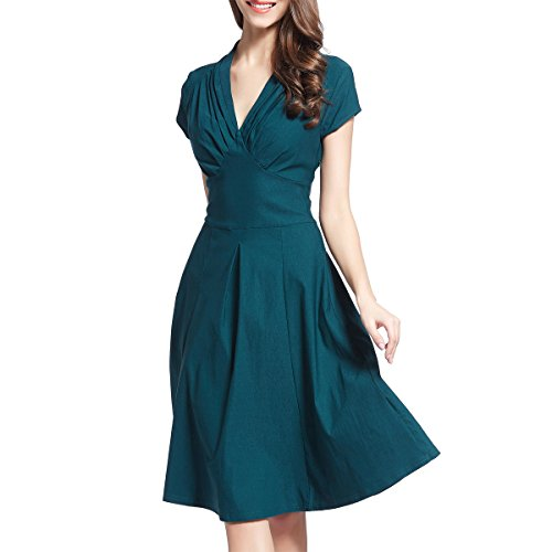 Ouxiuli Women's Vintage Retro Ball Gown 1940s Flared Dress Swing Skaters