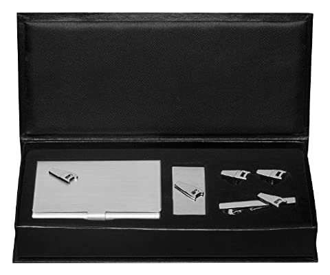 Visol Saw Business Card Case, Money Clip, Cufflinks and Tie Bar Gift Set (VSET831)
