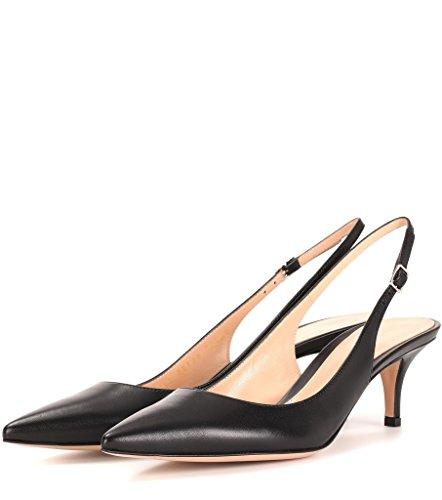 EDEFS - Escarpins Femme - Kitten-Heel - Bride de Arrière Femme - Slingback Shoes - Elegantes à Talons Moyen Noir