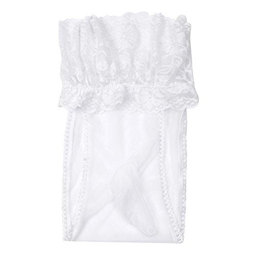 Mesh-rüschen Panty (YiZYiF Transparent Herren Slips Mesh Spitze Rüsche Strumpfhose Männer Unterwäsche Tanga Lingerie Unterhose mit Penishülle (Weiß))