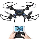 AKASO Drone avec Caméra HD 1080P LED,Quadcopter FPV WiFi RC avec Vidéo en Direct,3D VR,Mode sans Tête,360° Flips,Maintien de l'Altitude Maniable,Helicoptère Télécommandé à Enfants Adultes Débutants
