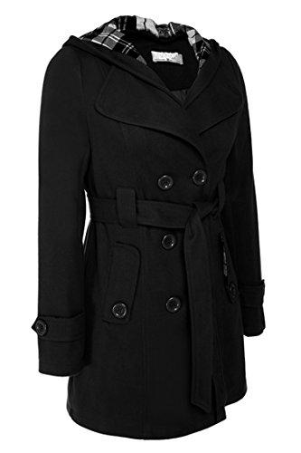 Busyall Damen Mantel kapuzenmantel Trenchcoat Wollmantel Double-breasted mit Taillegürtel, Farbe schwarz, Size S -