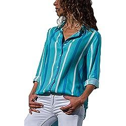 The Aron ONE Camiseta Mujer Manga Larga con Cuello en V T-Shirt, Gasa, Rayas, Blusa con Botones (Azul Claro, Large)