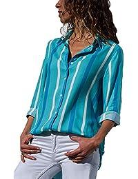 The Aron ONE Camiseta Mujer Manga Larga con Cuello en V T-Shirt, Gasa