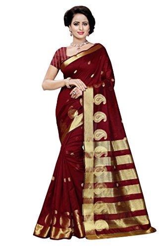 Vatsla Enterprise Women's Cotton Saree With Blouse Piece