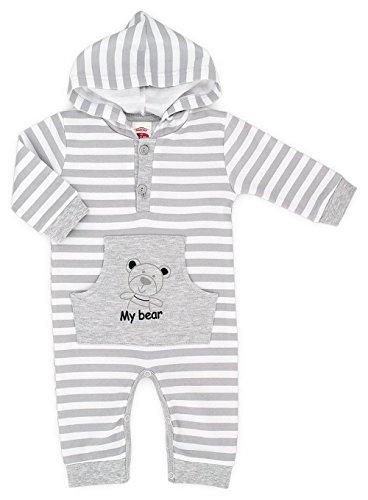 Makoma-Body per Neonato con cappuccio Unisex, My Bear-(56-86) Grau 2 mesi