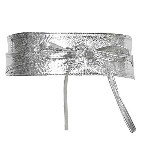Reversible Woven Shirt (Vamoro Damen Ledertasche Breiter Leder Gürtel mit Gürtelschnalle Stretchgürtel mit Gürtelschnalle Eleganter Gürtel Schlichter Damen Gürtel Fashion Breiter Taillengürtel Hüftgürtel (Silber))