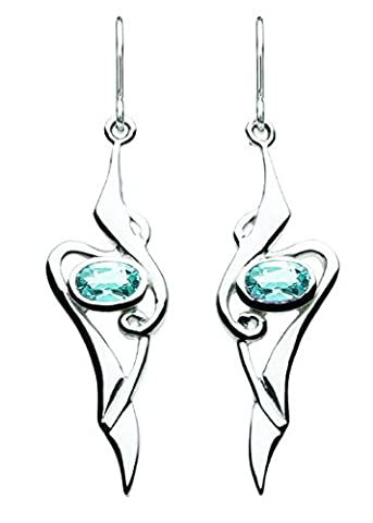 Heritage Women's Sterling Silver and Blue Topaz Art Nouveau Drop Earrings