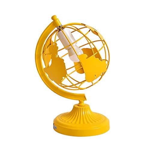 Schreibtischlampe, Kreativität Globus Modellierung Tischlampe Student Eye Protection Schreibtischleuchte Einfaches Nachtlicht Eisenschirm für Studium, Lesen, Büro und Schlafzimmerlampe E27,Yellow
