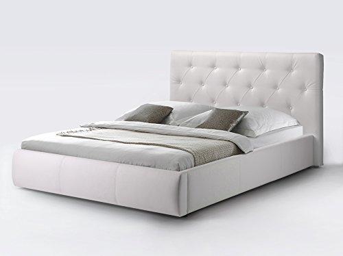 CAVADORE Kunstleder Bett ohne Stauraum CLARA in Weiß/Qualitativ hochwertiges Bett aus Kunstleder mit gestepptem Kopfteil / 160 x 200 cm breit -