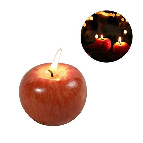 Leisial Simulation Apfelkerzen Fruchtkerzen Weihnachtskerzen Duftkerzen Halloween Kerzen 7*7*5.5CM Apfel M