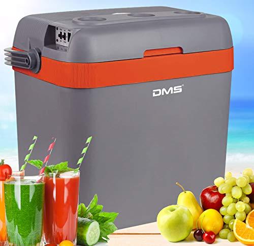 DMS® Kühlbox Kühltasche Gefriertasche 33L Getränkebox Wärmebox 12-24V LKW und PKW Zum Kühlen und Warmhalten Geeignet (Grau-Orange)