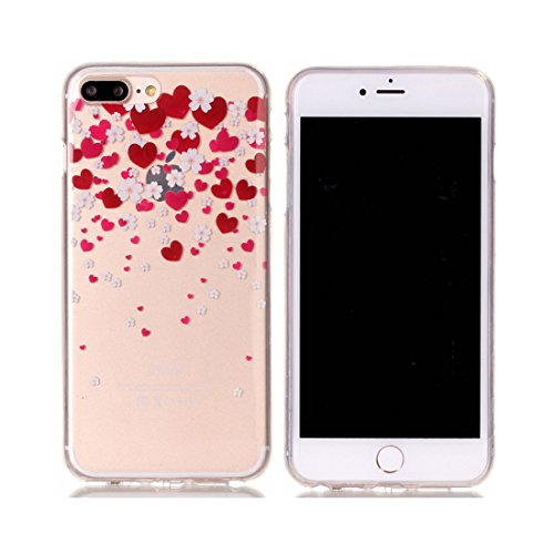 iPhone 7 Plus Custodia Case, Clear Ultra sottile protettiva TPU Silicone Back Rubber Bumper Protector iPhone 7 Plus copertura Cover 5.5 - Fiore di pesco # 9