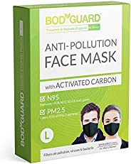 BodyGuard N95 + PM2.5 Anti Pollution Face Mask with 5 Layers Protection Activated Carbon, Nose Clip for Better