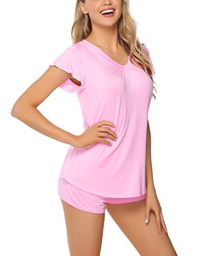 Aibrou Pyjama Damen Kurz Shorty Baumwolle Schlafanzug Kurzarm Nachtwäsche Set Sleepwear V-Ausschnit mit Ruffle Sleeve Pink L