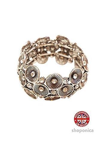 Sonnenschirm Blumen Design Schwarz Metall dehnbar Armband (Fashion Stretchable Armband)