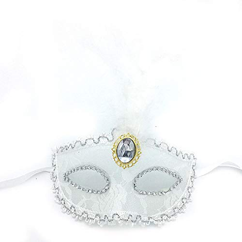 White Kostüm Halloween Lady - QTJKH Horror Maske Venezianische Maskerade Halloween-Partys Masken Kleid Kostüm Lady Geschenke Mask Masquerade @ White