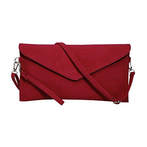 Jieway Frauen Faux Suede Abend Clutch Tasche Schulter Handtasche Messenger Umschlag Taschen(Rot) (Satin-abend-tasche Rote)
