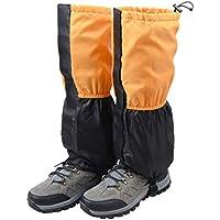 TRIWONDER Polainas Impermeable de Senderismo para piernas a Prueba de Viento Nieve Lluvia para Montaña Caza Esquí Escalada (1 Par) (Naranja y Negro)
