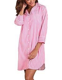 be9433d7f4f9 Giorzio Femme Chemise de Nuit à Rayures Manches 3 4 Vêtement de Nuit avec  Bouton