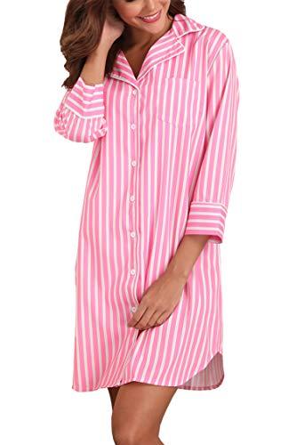 Giorzio Damen Nachthemd Knopfleiste Baumwolle Sleepshirt Kurzarm V-Ausschnitt Nachtwäsche Schlafanzugoberteil mit Brusttasche (Rosa,XL)