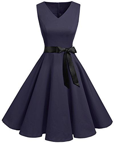bridesmay 1950er V-Ausschnitt Kleid Vintage Cocktailkleid Rockabilly Retro Schwingen Kleid Faltenrock Navy 4XL -