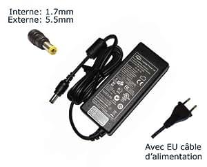 """AC Adaptateur secteur pourAcer Aspire ES1-512-C4FR ES1-512-C5YW ES1-512-C88M ES1-512-C8XK ES1-512-P9GTchargeur ordinateur portable, adaptateur, alimentation """"Laptop Power (TM)"""" de marque (avec garantie 12 mois et câble d'alimentation européen)"""