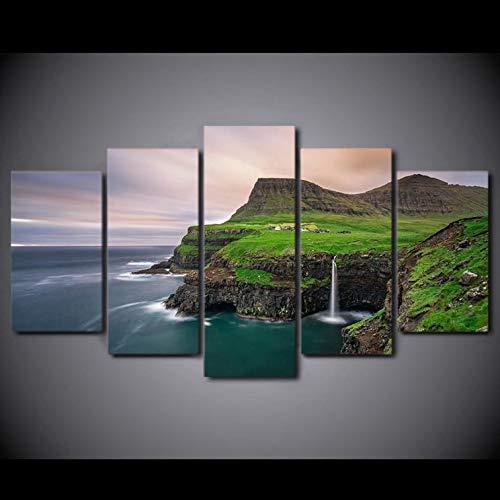 Sanzx Kunstdruck auf Leinwand, Motiv Gasadalur Village Färöer Inseln Wasserfall, 30 x 40 x 2, 30 x 60 x 2, 30 x 80 cm